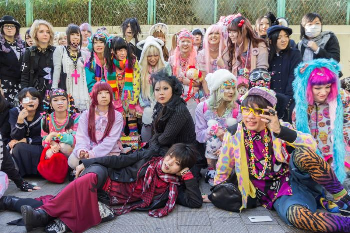 A group of cosplayers in Harajuku.