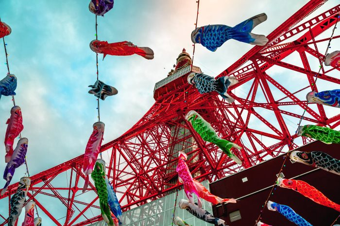 Carp streamers at Tokyo Tower commemorating Children's Day