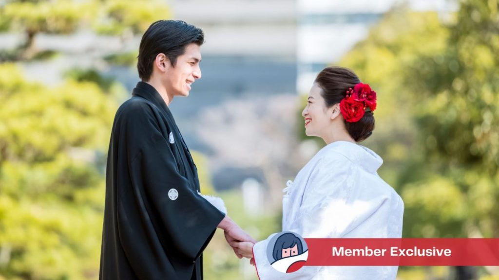 Husband and wife in traditional Japanese clothing